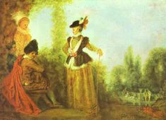'L aventurière', huile de Jean Antoine Watteau (1684-1721, France)
