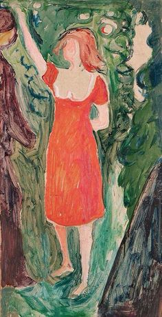 Edvard Munch - Woman in a Red Dress, 1927-30  Oil on Canvas 72 x 38 cm  Private Collection