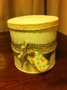 Tin can decorated to be a gift box for snacks.