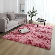 Nordic Lounge Fluffy Non-slip Mixed Dyed Carpet Living Room Bedroom Center Carpet Black Gray Pink Blue Large Size Hair Rugs - ZR3-9 / 80x160cm 31x62inch