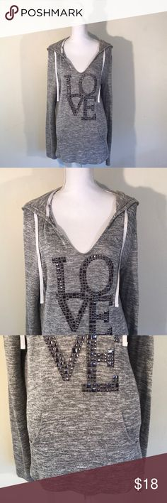 "🆕Listing/ Chance Or Fate Gorgeous Hoodie IN EXCELLENT CONDITION NO FLAWS!! Very soft and pairs great with leggings or jeggings. Studded Love embellishments. Front hand warmer pocket. Armpit to armpit 22""/ shoulder to hem 30""/ shoulder to cuff 28""  You can only bundle up to 8 items per order. But you can place as many orders as you want or even reposh. Chance Or Fate Tops"
