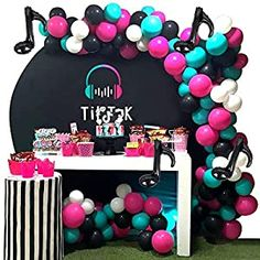 Balloons Supply Pack Serves 10 Guests Tik Tok Party Supplies Decorations Birthday Party Favors Included TIK Tok Backdrop Gift Bags Knifes,Forks,Spoons and Napkins Banner Table Cloth