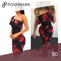 One shoulder Rose print dress One shoulder design side zippered and cut at knee length Dresses One Shoulder