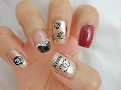 Pearls, Roses and Channel Water Decal Nail Art BLE2092. | chichicho~ nail art addicts