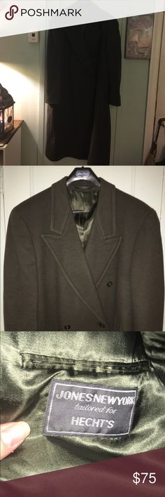 Jones New York Full length lined wool coat plus Gorgeous dark olive fully lined full length wool coat.  100% lambs wool. Plus size 22. Just dry cleaned. Great condition. Jones New York Jackets & Coats