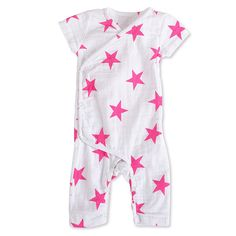 aden   anais Girls 0-3 Months Pink Star Muslin Short-Sleeve Kimono One Piece