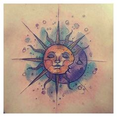watercolor sun & moon tattoo - Google Search | Tattoos | Pinterest ❤ liked on Polyvore featuring accessories and body art
