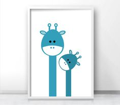 Giraffe Nursery Art Nursery Print Kids Prints Blue Nursery