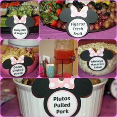A Minnie Mouse Birthday Party! A Minnie Mouse Birthday Party! Minnie Mouse Theme Party, Minnie Baby, Minnie Mouse Baby Shower, Mickey Mouse Clubhouse Birthday, Mickey Party, Mickey Mouse Birthday, Mickey Mouse Food, Minnie Mouse Favors, Mickey Mouse Parties