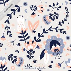 Cute hand drawn leaves and flowers pattern Premium Vector