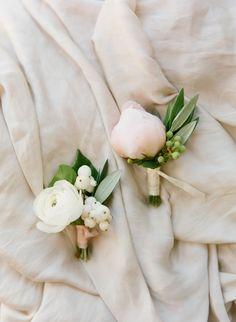 Pretty peony boutonnieres: http://www.stylemepretty.com/little-black-book-blog/2015/08/17/dreamy-romantic-garden-inspired-montecito-wedding/ | Photography: Diana McGregor http://www.dianamcgregor.com/
