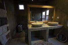 Little Kulala Desert Lodge is situated in the Kulala Wilderness Reserve in the region of Sossusvlei. Little Kulala Desert Lodge is very exclusive & stylish. Bathroom Rack, Bathroom Sinks, Bathrooms, Desert Design, Fur Carpet, Natural Interior, Indoor Outdoor Living, Bathroom Styling, Rustic Design