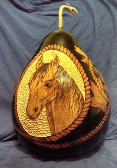 Pyrograph Horse Head gourd