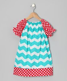 Take a look at this Turquoise Chevron Peasant Dress - Infant, Toddler & Girls by Buds 'n' Branches on #zulily today!