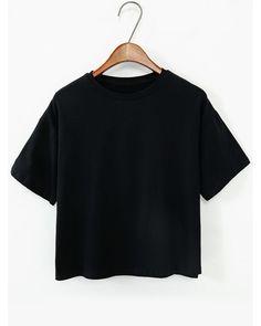 Summer basic tops-Plain Short Sleeve T-shirt. Simple black ployester top. US$5.99.