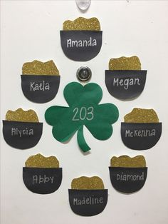March door decs- pots of gold with gold glitter paper around a 4 leaf clover!!