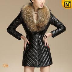 Raccoon Fur Collar Coat www.cwmalls.com