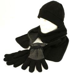 f1ba327c53e Men s Winter Fleece Hat Scarf Gloves Set Black with Charcoal Gray Medium