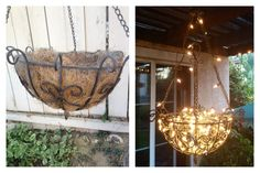 DIY outdoor chandelier made from a hanging planter, fishing line, and Christmas lights.