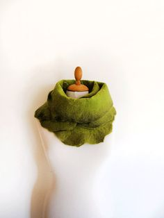 Hand felted scarf apple green earth tone by GabardineCouture, 88.00