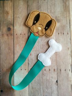 Dog Bookmark, Light Brown Embroidered Felt Dog with White Bone and Teal Grosgrain Ribbon, Ready to Ship