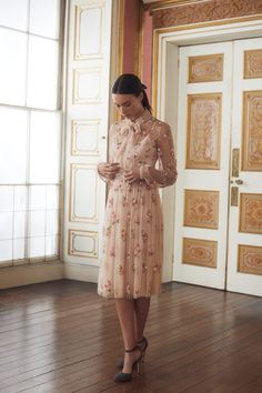 The bow tie collar details of the Ditsy Bow Dress are taken from the film Picnic at Hanging Rock. Elegant Dresses, Pretty Dresses, Vintage Dresses, Beautiful Dresses, Pink Dresses, Modest Fashion, Fashion Outfits, Embellished Dress, Dress With Bow