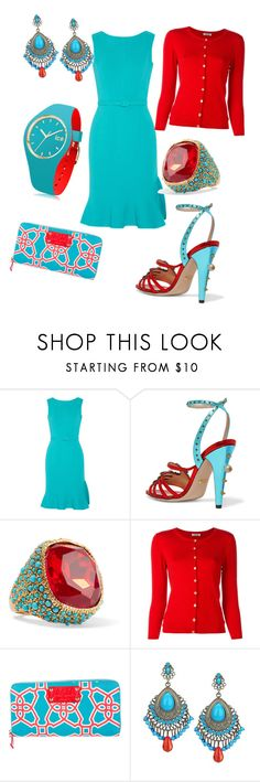 """""""turquoise and red"""" by angelina-vanessa ❤ liked on Polyvore featuring Oscar de la Renta, Gucci, Kenneth Jay Lane, P.A.R.O.S.H., Kate Spade and Ice-Watch"""