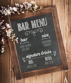 PHYSICAL PRINT - Bar Menu - Wedding Print, Bar Menu Sign, Wedding Printable, Chalkboard Menu, Wedding Chalkboard Decor
