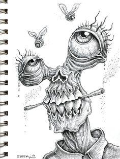 Doodle by Emek drawings trippy Weird Drawings, Trippy Drawings, Psychedelic Drawings, Dark Art Drawings, Pencil Art Drawings, Art Drawings Sketches, Doodle Drawings, Tattoo Drawings, Hipster Drawings