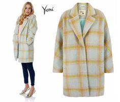 Yumi AW15 yellow and grey check coat