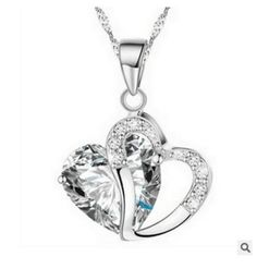 Details about Women Fashion Crystal Heart Pendant Necklace Chain Jewelry SR1   eBay