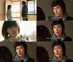Are you an idiot? Are you on drugs? Just Gu Jun Pyo wooing Geum Jan Di chaebol style!lol He was so cute and full of himself. Boys Over Flowers Gu Hye Sun, Live Action, Yuki Furukawa, Geum Jan Di, Boys Before Flowers, Lee Min Ho Boys Over Flowers, Ji Hoo, Korean Drama Quotes, Drama Funny