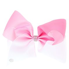 Get the ultimate dancing hair accessory with this super fun large pink & white ombre colored signature hair bow from JoJo Siwa collection. The bow has been attached to a metal salon clip making it really easy to wear and has been covered in rhinestones so you will sparkle from head to toe. <UL><LI>JoJo Siwa collection <LI>Large white & pink ombre design <LI>Metal salon clip</LI></UL><P>The JoJo Siwa signature bow collection...
