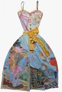 Peter Clark's Illustrated book, Paperworks, has some amazing examples of paper craft and design like this collage of a world map dress.