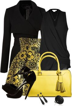 """Yellow and Black"" by averbeek on Polyvore"