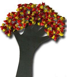 Hand-print Tissue Paper Tree (fine motor exercise, bunching one handed w/o support). - - Re-pinned by @PediaStaff – Please Visit http://ht.ly/63sNt for all our pediatric therapy pins