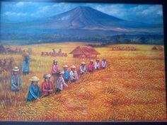 For sale | For sale | Harvesting rice – oil on canvas – 50 x 70 cm – U$D 54 / IDR 700.000,- , nego