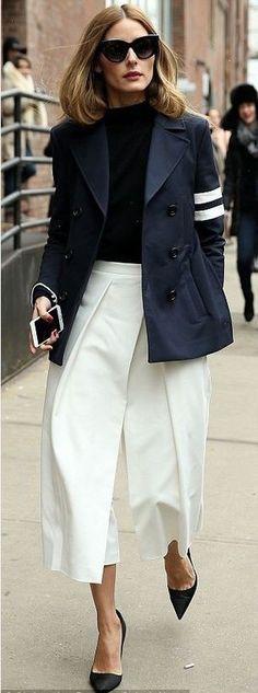 olivia palermo, jacket, wide-leg pants, pants, fashion week 2015, pumps