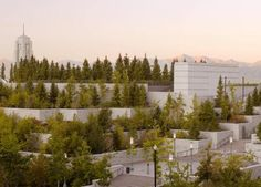 Trees grow on roof top terraces of the LDS Assembly Hall and Conference Center in Salt Lake City, Utah.