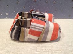 Baby Tom style baby crib shoes in a nautical multi by Scarlettos, $25.00