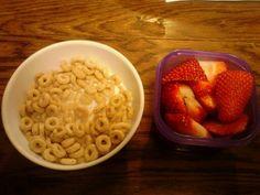 21 day fix. Breakfast. Whole grain cherrios and strawberries.