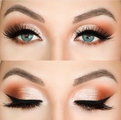 gorgeous simple warm toned smokey eye look with fluttery lashes.