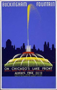 Art - Poster - WPA Buckingham fountain