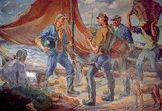 """""""El Regreso de la Pesca"""" Artista: Cleto Ciocchini.            Oil on canvas #puerto #mardelplata #port #mdq #pescadores"""