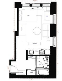 nyc 350 sqft studio apartment - layout