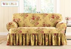 Sure Fit Ballad Bouquet Loveseat T Cushion Skirted Slipcover (Loveseat, TEA  Stain), Yellow (Cotton, Floral)