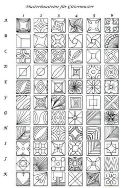 Pattern sheet for zentangle | :: Zentangle & Zendoodle Patterns :: by…