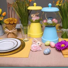 This DIY Gumball Machine is a fun Easter craft using terra-cotta pots, glass pla. This DIY Gumball Machine is a fun Easter craft using terra-cotta pots, glass planters and a few hol Diy And Crafts Sewing, Crafts To Make And Sell, Sell Diy, Diy Crafts, Sewing Diy, Easter Projects, Easter Crafts, Easter Décor, Diy Projects