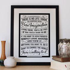 'pure imagination' screen print by chatty nora | notonthehighstreet.com
