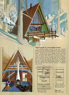 https://flic.kr/p/7azkBZ | Plan 112 | The images in this set are from 'Great Ideas for Second Homes: A Portfolio of 20 Distinguished New Designs in Plywood, published by the American Plywood Association in 1969. These plans were meant to be ordered from the Home Building Plan Services of Portland, Oregon.  The fantastic illustrative paintings were done by Lorenzo Ghiglieri